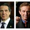 These 2013 file photos show New York Gov. Andrew Cuomo, left, in Albany, N.Y. and Robert F. Kennedy Jr. in Dallas, Texas. People familiar with Cuomo's thinking on fracking tell The Associated Press he was on the brink of approving the much-debated gas drilling method in February 2013 but held off after discussions with environmentalist and former brother-in-law, Kennedy. (AP Photo/Tony Gutierrez)