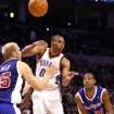 L.A. CLIPPERS / OKLAHOMA CITY THUNDER / LOS ANGELES CLIPPERS / NBA BASKETBALL  Oklahoma City Thunder guard Russell Westbrook passes the ball during the Thunder - Clippers game November 15, 2009 in the Ford Center in Oklahoma City.    BY HUGH SCOTT, THE OKLAHOMAN ORG XMIT: KOD