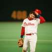 MAJOR LEAGUE BASEBALL / REACTION: The Philadelphia Phillies' John Kruk reacts after a missed double play in the ninth inning of Game 3 of the World Series with Toronto Blue Jays in Philadelphia, on Oct. 19, 1993. The Jays crushed the Phillies 10-3 to take a 2-1 lead in the best-of-seven-series. (AP Photo/Elise Amendola) ORG XMIT: APHS130003 ORG XMIT: 0805311935212896