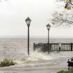 A park floods along the Susquehanna River in Havre de Grace, Md. as the aftermath of superstorm Sandy continued to disrupt routines on the East Coast Tuesday, Oct. 30, 2012. (AP Photo/Steve Ruark) ORG XMIT: MDSR104