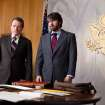 This film image released by Warner Bros. Pictures shows Bryan Cranston, left, as Jack O'Donnell and Ben Affleck as Tony Mendez in