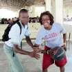 Danielle Robinson, right, and the Sooners helped out at the Mission of Hope in Haiti. Photo Provided
