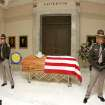 Oklahoma Highway Patrol Honor Guards Russell Knoke and Woody Perry stand beside the casket of former State Rep. Clem McSpadden as he lies in state at the state Capitol in Oklahoma City , Okla. July 11 , 2008. Clem McSpadden died Monday at the age 82.  BY STEVE GOOCH, THE  OKLAHOMAN