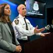 Vancouver Police Acting Chief Doug LePard, right, and British Columbia Chief Coroner Lisa Lapointe announce the death of Canadian actor Corey Monteith during a news conference in Vancouver, B.C., late Saturday July 13, 2013.  Vancouver police say Canadian born actor Montieth, star of the hit show