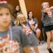 Sarah Johnson (center) and Jadyn Barefoot (CQ) Barefoot, react as they learn dance steps during Hearts for Hearing Camp at the Oklahoma City Museum Of Art in Oklahoma City on Tuesday, June 21, 2011. Two Thunder Girls taught dance to the kids who are deaf or have hearing loss. Photo by John Clanton, The Oklahoman