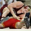 COLLEGE WRESTLING: University of Oklahoma (OU)'s Jake Hager wrestles Iowa State's Richard Schopf in the heavyweight match in Norman, Oklahoma on Saturday, January 28, 2006.   by Steve Sisney/The Oklahoman