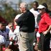 Bill Parcells, center, Miami Dolphins executive vice president of football operations, gives a pep talk to Oklahoma players as coach Bob Stoops looks on during practice on Saturday. AP Photo