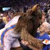 Leola Boyd, the OKC Thunder fan who had hoped to raise money to keep James Harden in Oklahoma City meets Rumble the Bison at the OKC Thunder's home opener on Friday, Nov. 2 in Chesapeake Energy Arena in Oklahoma City, Okla.       Here's the story from the evening from Berry Tramel.