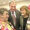 Former state Sen. Gene Stipe, D-McAlester, center, and his wife Mary, right, talk with with Gertrude Duncan, left, during the