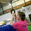 Brittany Donley, of Cache, Okla., laughs as she completes a zip line ride at Mat Trotters Gymnastics in Oklahoma City on Wednesday, July 27, 2011. Oklahomans Without Limits (OWL) is a summer camp for kids who are blind or visually impaired. The camp pairs each visually impaired child with a sighted buddy for the week long camp. Photo by John Clanton, The Oklahoman