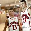 Washington High School players Jesse Nixon (left) and Cal Andrews pose at Washington High School in Washington, Okla., on Monday, March. 7, 2011. Andrews and Nixon were water boys in 2006, when the Warriors were State Runners up. Photo by John Clanton, The Oklahoman