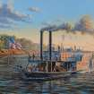 """For the Oklahoma History Center's new """"Steamboat Heroine"""" exhibit, the state historical society commissioned Peter Rindlisbacher, an internally recognized Canadian marine artist known for his detailed and evocative illustrations of sailing ships and steamboats, to create the painting """"Steamboat Heroine."""" Rindlisbacher worked closely with the archaeologists who excavated the Heroine and studied the three-dimensional artist?s model of the boat to create the historically accurate painting."""