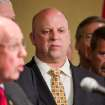 FILE - In this April 4, 2012 file photo, U.S. Rep. Scott DesJarlais, R-Tenn, center, participates in an law enforcement meeting in Nashville, Tenn. A phone transcript emerged on Wednesday, Oct. 10, 2012, appearing to recount how the freshman congressman seeking re-election on a pro-life platform urged his pregnant mistress to get an abortion more than a decade ago. The DesJarlais revelation is one of the top stories in Tennessee for 2012. (AP Photo/Erik Schelzig, File)