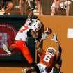 Texas' Quan Cosby scores while defended by Jacob Lacey in the first half as Oklahoma State University (OSU) plays the University of Texas (UT) at Darrell K. Royal-Texas Memorial Stadium at Joe Jamail Field in Austin, Texas on Saturday October 25, 2008.  By Steve Sisney, The Oklahoman