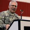 Major General Myles Deering, adjutant general for Oklahoma addresses the troops during the return ceremony for the National Guard's 45th Infantry Brigade Combat Team at the Army Aviation hanger at Will Rogers Air National Guard Base Sunday, March 25th, 2012. PHOTO BY HUGH SCOTT, FOR THE OKLAHOMAN