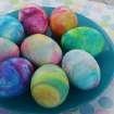 "This undated photo provided by A Thrifty Mom shows the use of shaving cream and liquid food coloring to dye hard-boiled eggs which gives them a tie-dyed effect. It's a tactile project most kids will enjoy.  Â""Using shaving cream our kids thought it smelled great and had fun at every part of the project!"" writes Sarah Barrand at her A Thrifty Mom blog. (AP Photo/A Thrifty Mom, Sarah Barrand)"