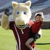 Javi Restrepo poses with one of the OU mascots during the multi-sport morning the OU athletic department organized for him. (Photo provided)