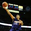 Phoenix Suns shooting guard Gerald Green (14) drives to the basket on Portland Trail Blazers shooting guard Wesley Matthews (2) during the first quarter of an NBA basketball game on Wednesday, Nov. 13, 2013, in Portland, Ore. (AP Photo/Steve Dykes)