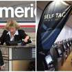 This combination of Associated Press file photos shows, left, passengers checking-in at an American Airlines ticketing counter in 2011, in Dallas, and right, a row of self-check-in kiosks in 2012, in Seattle. Many middle-class workers have lost jobs because powerful software and computerized machines are doing tasks that only humans could do before. (AP Photo)