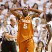 Texas' Damion James reacts to a foul call in the second half during a loss to Texas A&M 100-82  Monday, Feb. 5, 2007 at Reed Arena in College Station, Texas. (AP Photo/Paul Zoeller) ORG XMIT: TXPZ107