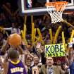Derrick Seys, of Edmond, holds a sign for Kobe Bryant as Seys and Oklahoma City fans taunt the Los Angeles Lakers during the NBA basketball game between the Los Angeles Lakers and the Oklahoma City Thunder at the Ford Center in Oklahoma City, on Tuesday, Nov. 3, 2009. The Thunder lost to the Lakers  By John Clanton, The Oklahoman  ORG XMIT: KOD
