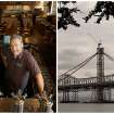 "This combination photo shows, left, Nico Freccia, co-founder and chief operating officer of the 21st Amendment Brewery, posing for a photo at his bar in San Francisco, and right, a file photo of construction on the eastern span of the Oakland-San Francisco Bay Bridge, on  Tuesday, Feb. 28, 2012. Amendment Brewery has opened offices in the East Bay, and is scouting space there for a 80,000-square-foot  brewery, hoping to ""help anchor the revitalization"" of an Oakland neighborhood.  (AP Photo/File)"