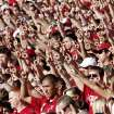 Fans cheer for OU during the first half of the college football game between the University of Oklahoma Sooners (OU) and Utah State University Aggies (USU) at the Gaylord Family-Oklahoma Memorial Stadium on Saturday, Sept. 4, 2010, in Norman, Okla.   Photo by Bryan Terry, The Oklahoman