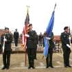 The Broncho Battalion Color Guard presents the colors as the University of Central Oklahoma Veteran Support Alliance honors veterans with a ceremony on Veterans Day at UCO's Plunkett Park in Edmond, OK, Friday, Nov. 11, 2011. By Paul Hellstern, The Oklahoman