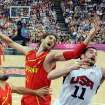 United States' Kevin Love (11) vies for the ball with Spain's Pau Gasol (4) during the men's gold medal basketball game at the 2012 Summer Olympics  in London on Sunday, Aug. 12, 2012. (AP Photo/Mark Ralston, Pool)