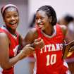 Carl Albert Lady Titans'  Toni Cheadle, right, celebrates with teammate Alicia Frazier after their team's 47-35 win over the Millwood  Lady Falcons in the 2012 Titan Classic Basketball Tournament at Carl Albert High School,  Saturday, Jan. 21, 2012. Carl Albert  won the tournament champions in the girls bracket.  Cheadle was named as a player on the all-tournament team after the win.   Photo by Jim Beckel, The Oklahoman