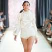 White shorts outs by Karol Andrea, modeled at Oklahoma Fashion Week. Photo by Gerry Hanan, Hanan Exposures   Photographer: Gerry Hanan