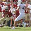 Florida State's Kenny Shaw tries to get around Maryland's Cole Farrand after a pass reception in the third quarter of an NCAA college football game on Saturday, Oct. 5, 2013, in Tallahassee, Fla. Florida State won 63-0. (AP Photo/Steve Cannon)