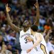 New Orleans Pelicans guard Anthony Morrow (3) celebrates after scoring during the second half of an NBA basketball game against the Miami Heat in New Orleans, Saturday, March 22, 2014. The Pelicans won 105-95. (AP Photo/Jonathan Bachman)