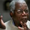 FILE - Chinua Achebe, Nigerian-born novelist and poet speaks about his works and his life at his home on the campus of Bard College in Annandale-on-Hudson, New York where he is a professor, in this Jan. 22, 2008 file photo. Achebe, who wrote the classic