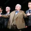 FILE - From left, actors James Corden, Clive Merrison, Richard Griffiths and Stephen Campbell Moore take the curtain call at the opening night of the play The History Boys, in this Sunday, April 23, 2006 file photo in New York. Griffiths, the British actor who played the boy wizard's unsympathetic Uncle Vernon in the