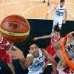 Argentina's Luis Scola (4) drives to the basket against Russia during the men's bronze medal basketball game at the 2012 Summer Olympics  in London on Sunday, Aug. 12, 2012. (AP Photo/Christian Petersen, Pool)
