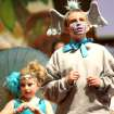Vinnie McLain, a fifth-grader at St. Mary's plays Horton (foreground) while Abby Zimmerman, a fourth-grader, plays a bird girl (background) during a production of
