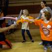 Cooper Bassett has a ballon sword fight with Addi, Hayley and Taylor Brandt (left to right). Oklahoma State University hosted a Coaches vs. Cancer Birthday party in Gallagher-Iba arena in Stillwater, Ok on Sept. 16, 2012. Photos by Mitchell Alcala for the Oklhaoman