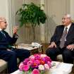 "FILE - In this Saturday, July 6, 2013 photo released by the office of the Egyptian Presidency, Mohamed Elbaradei, left, meeting with interim president Adly Mansour, right, at the presidential palace. Egypt's interim president has an economist as prime minister and pro-reform leader Mohamed ElBaradei as vice president, ending days of deadlock. The head of the military shows his resolve to push the political process ahead, warning factions that ""political maneuvering"" must not hold up the transition toward new elections to choose a replacement for the ousted Mohammed Morsi. Still, a youth movement behind the anti-Morsi uprising expresses its discontent over the transition. (AP Photo/Egyptian Presidency, File)"