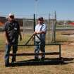 Larry Barker (left) and Jack Warden show off the field groomer they made for the new turf at Bronco Stadium.  Community Photo By:  Shannon Rigsby, MPS  Submitted By:  Shannon, Mustang