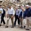 President Barack Obama walks towards the Plaza Towers School in Moore, Okla.,with Oklahoma officials on Sunday, May 25, 2013. Photo by Bryan Terry The Oklahoman