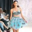 Aqua full skirt and bra top by Victoria Roberts modeled at Oklahoma Fashion Week. Photo by Gerry Hanan, Hanan Exposures   Photographer: Gerry Hanan