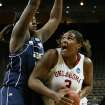 NCAA TOURNAMENT / WOMEN'S COLLEGE BASKETBALL: Courtney Paris shoots under the block of Sasha Goodlett in the first half as the University of Oklahoma (OU) plays Georgia Tech in round two of the 2009 NCAA Division I Women's Basketball Tournament at Carver-Hawkeye Arena at the University of Iowa in Iowa City, IA on Tuesday, March 24, 2009.   PHOTO BY STEVE SISNEY, THE OKLAHOMA ORG XMIT: KOD