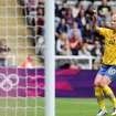 Sweden's Sofia Jakobsson celebrates her goal during the group F women's soccer match against Canada at St James' Park in Newcastle, England, during the London 2012 Summer Olympics, Tuesday, July 31, 2012. (AP Photo/Scott Heppell)