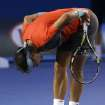 Rafael Nadal of Spain reacts as he plays Stanislas Wawrinka of Switzerland during the men's singles final at the Australian Open tennis championship in Melbourne, Australia, Sunday, Jan. 26, 2014.(AP Photo/Aaron Favila)