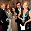 "Actors Sarah Hyland, from left, Jesse Tyler Ferguson, Sofia Vergara, Ariel Winter, Ty Burrell, Julie Bowen and Nolan Gould pose backstage with the award for outstanding ensemble in a comedy series for ""Modern Family"" at the 19th Annual Screen Actors Guild Awards at the Shrine Auditorium in Los Angeles on Sunday Jan. 27, 2013. (Photo by Matt Sayles/Invision/AP)"