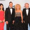 Members of Little Big Town,  from left, Karen Fairchild, Jimi Westbrook, Kimberly Schlapman, and Philip Sweet arrive at the 47th annual CMA Awards at Bridgestone Arena on Wednesday, Nov. 6, 2013, in Nashville, Tenn. (Photo by Evan Agostini/Invision/AP)