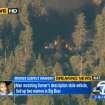 In this image taken from video provided by KABC-TV, the cabin in Big Bear, Calif. where ex-Los Angeles police officer Christopher Dorner is believed to be barricaded inside is in flames Tuesday, Feb. 12, 2013. (AP Photo/KABC-TV) MANDATORY CREDIT: KABC-TV