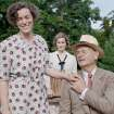 FILE - This undated publicity film image released by Focus Features shows, from left, Olivia Williams as Eleanor Roosevelt, Laura Linney as Daisy, and Bill Murray as Franklin D. Roosevelt in a scene from