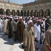 Egyptian clerics, supporting the ousted Egyptian President Mohammed Morsi, leave al-Azhar mosque following a protest in Cairo, Egypt, Sunday, July 14, 2013. Egypt's military chief has defended the ouster of the Islamist president, saying he acted upon the will of the people after the